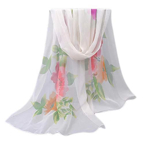 Leichter Blumendruck Frühling Sommer Schal Sonnencreme Schals für Frauen, Weiß