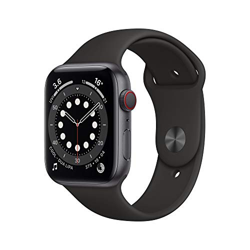 Apple Watch Series 6 GPS + Cellular, 44mm Space Grey Aluminium Case with Black Sport Band - Regular