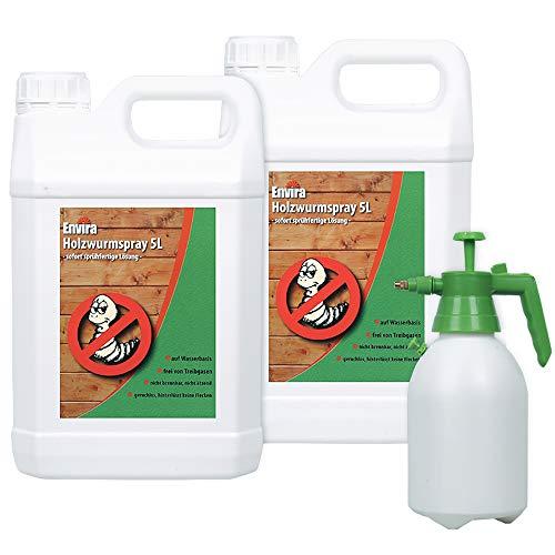 Envira Holzwurm-Spray - Holzwurm Ex Gegen Holzschädigende Insekten - Langzeitschutz & Wasserbasis - 2 x 5L + Sprüher