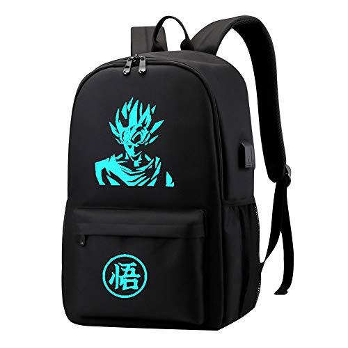 Tiyila Anime Dragon Ball Z Cosplay Mochila de Hombro Mochila Mochila Escolar con Puerto de Carga USB