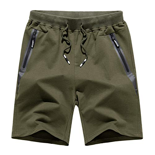 KEFITEVD Kurze Hose Herren Sommer Baumwolle Running Shorts Workout Turnhose Bermuda Shorts mit Taschen Knielang Stoffhose Männer Dunkeloliv 34