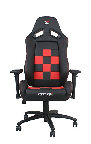 Finish Line Red on Black Checkered Flag Pattern Gaming and Lifestyle Chair by RapidX
