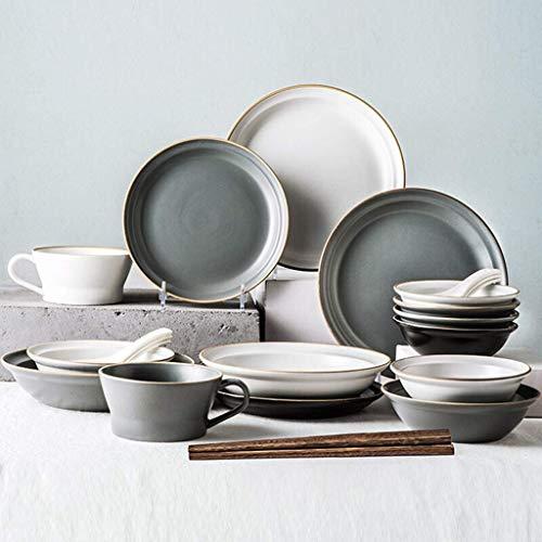 Juego de vajilla de cerámica, plato, cuenco, plato, 22 piezas, vajilla de mezcla de colores de primera calidad, juego de combinación de platos de porcelana esmaltada mate para restaurante, fiesta fami