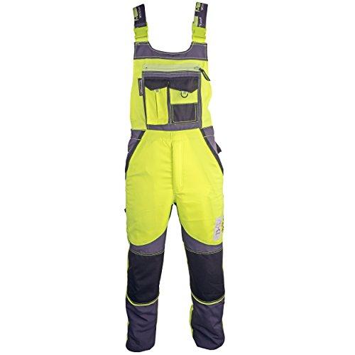 WOODSafe® Schnittschutzhose Klasse 2, kwf-geprüfte Forsthose, Latzhose gelb/grau, Herren - Waldarbeiterhose (48)