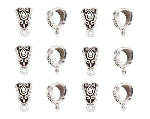 100pcs Alloy Beads Bails Connector for DIY Necklace Bracelet Jewelry Charm Pendant Hanging Adapter(Antique Silver)