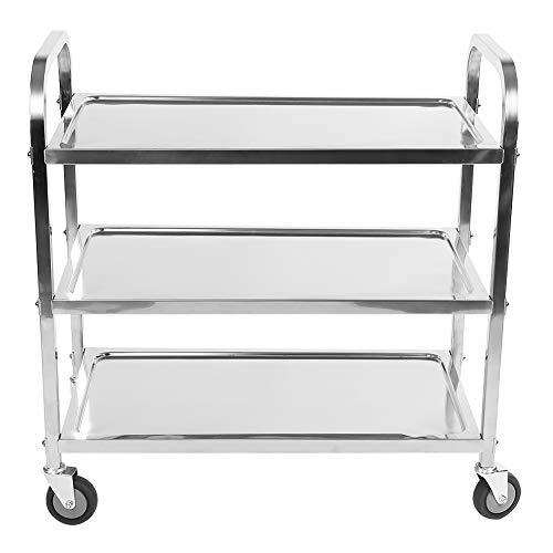 3 ripiani da cucina in acciaio INOX, ripiani, grande carrello di servizio clearing trolley catering trolley con ruote di bloccaggio per cucina, alberghi, ristoranti e a casa, 85,1 x 45,2 x 89,9 cm