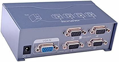 DTECH Powered 4 Port VGA Splitter Box Video Distribution Duplicator for 1 PC to Multiple Monitors