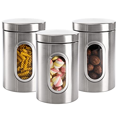 Jucoan 3 Pack Kitchen Canister Set, 48oz Stainless Steel Food Storage Containers with Lid and Visible Window for Dry Food Snack Beans