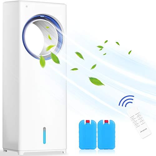 Mobile Klimaanlage 4 in 1 Aircooler | Luftkühler | Ventilator mit 8h Timer 3 Modi 3 Stufen Oszillierend Mobile Klimagerät Mit Fernbedienung Ohne Rotorblätter