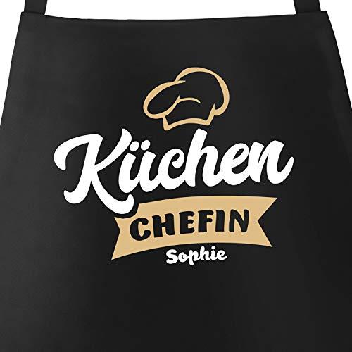 SpecialMe® Küchen-Schürze mit Namen Aufdruck Küchenchef individualisierbar Kochschürze Männer Frauen personalisierte Geschenke Küchenchefin schwarz Unisize