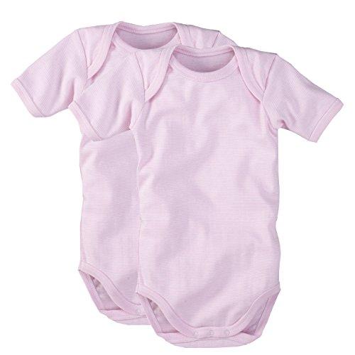 wellyou wellyou | 2er Set Kinder Baby-Body Kurzarm-Body | rosa weiß gestreift | Geringelt | Feinripp 100% Baumwolle | Größe 104-110