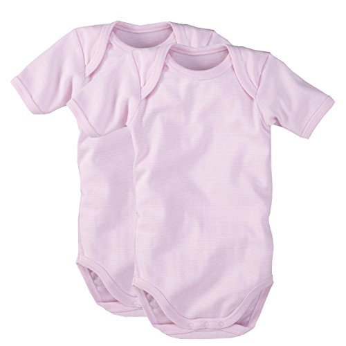 wellyou WELLYOU | 2er Set Kinder Baby-Body Kurzarm-Body | rosa weiß gestreift | Geringelt | Feinripp 100% Baumwolle | Größe 50