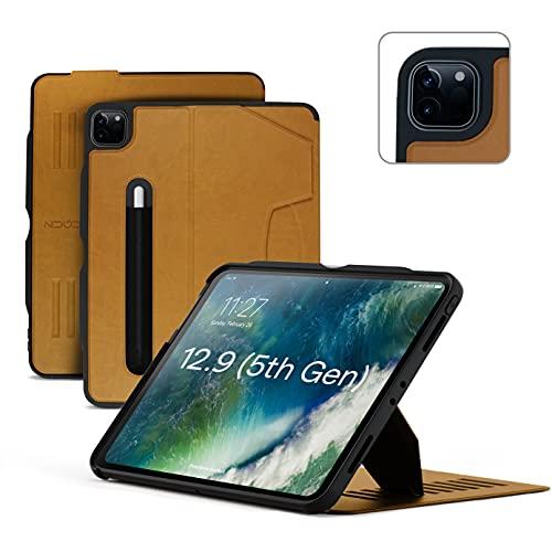 ZUGU iPad Pro 12.9 Hülle 2021 Gen. 5, schlanke Schutzhülle 10 Winkel-Ständer magnetisch, Aufladen iPad Stiftes Auto Sleep/Wake Up [iPadPro 12.9 Braun]