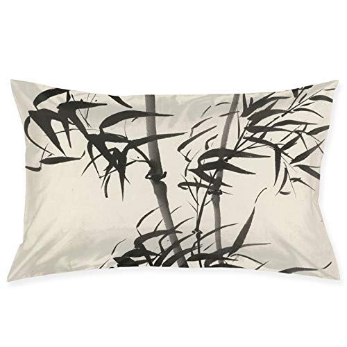 LESLIEYU Ultra-Soft Pillow Protectors Cases Covers, Bamboo Ink Painting Rectangle Sofa Pillowcases Shams with Zippered, Waist Cushion Throw Pillow Cover for Couch Bed Bedroom Chair (20 x 30)