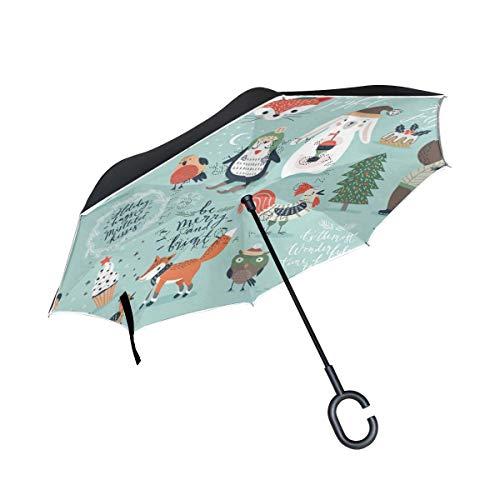 rodde Paraguas Invertido Invertido Sol Lluvia Navidad Año Nuevo Invierno Árbol Muñeco de Nieve Animal Oso Reversible para el automóvil Uso en Exteriores con Mango en Forma de C