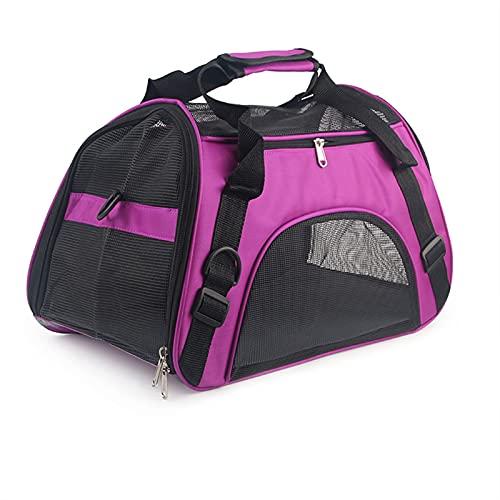 Transportín Gato Perro Portador de gatos, PORT PORTE DE PET SOFTSET para gatos, perros Cachorro Comfort Portátil plegable Bolsa Transporte Mascotas (Color : Purple, Size : S)