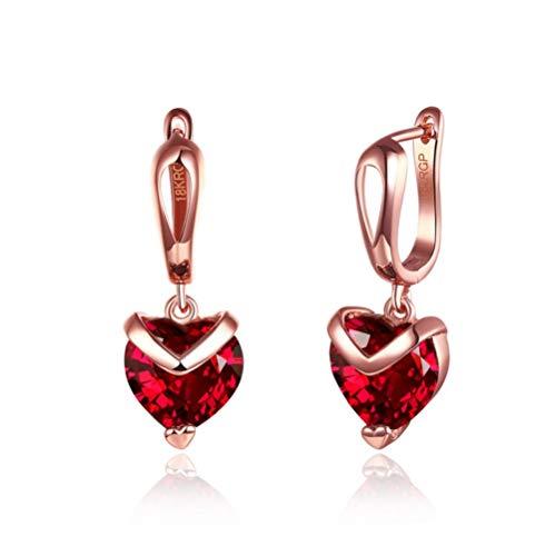 Yhhzw Pendientes De Aro De Círculo Redondo Dorado De Circonita Cúbica Pendientes De Amor De Cristal De Corazón Rojo Claro Para Joyería De Mujer