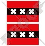 Amsterdam Flagge Niederlande, North Holland, Nederland (Dutch 7,6cm (75mm) Bumper Sticker, Aufkleber Vinyl X2