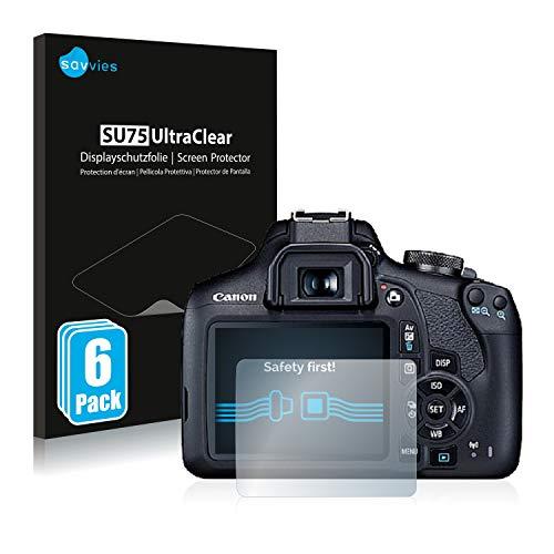 savvies 6-Pezzi Pellicola Protettiva Compatibile con Canon EOS 2000D Protezione Schermo Trasparente