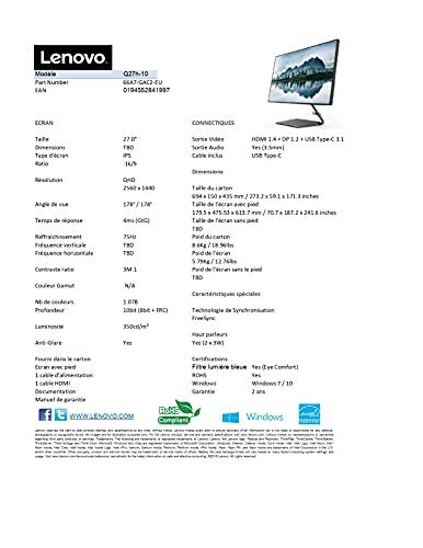 Lenovo Q27h-10 68,58 cm (27 Zoll, 2560×1440, WQHD, 75Hz, WideView, entspiegelt) Monitor (HDMI, DisplayPort, 4ms Reaktionszeit, AMD Radeon FreeSync) grau - 13