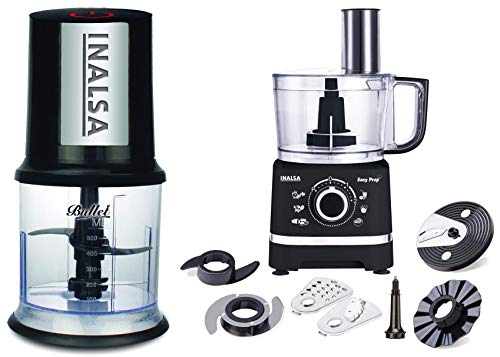 Inalsa Bullet 400-Watt Electric Chopper with Twin Blade Technology (Black) & Inalsa Food Processor Easy Prep-800W with Processing Bowl & 7 Accessories,(Black)