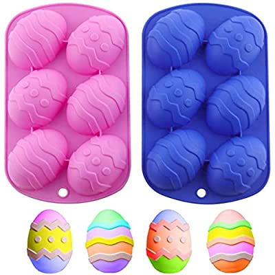 2Pcs 3D Easter Egg Silicone Candy Molds, Dinosa...