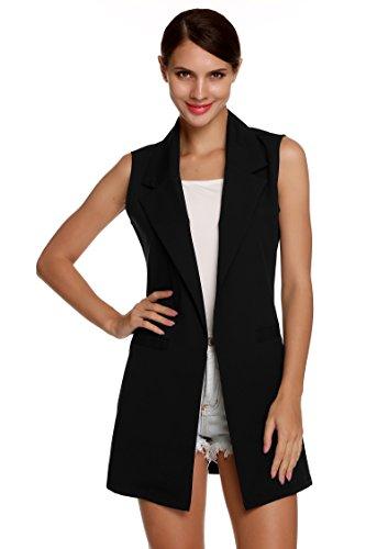 Meaneor Damen Lang Weste Ärmellos Jacke Dünn Mantel mit Taschen Reverskragen- Gr. EU 40(Herstellergröße: L), Schwarz