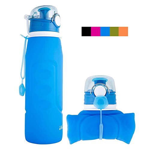 iKiKin Faltbare Wasserflasche, Silikon Faltbare Trinkflasche, 1000ml BPA frei, Lecksichere Faltbare Sportflasche für Sport, Outdoor, Reisen, Camping (Blau)