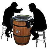 Creative Arcades Full Size Commercial Grade Wine Barrel Style Pub Arcade Machine | 2 Player | 412 Games | 19' LCD Screen | Round Glass Top | 2 Sanwa Joysticks | 2 Stools Included | 3 Year Warranty