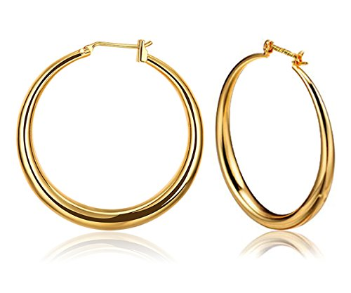 Rose Gold Hoop Earrings for Women Creole 9ct Gold Plated Jewellery Best Gift for Woman and Girls Ladies 35mm Borong