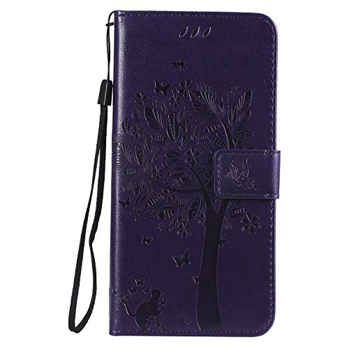 Snow Color Leather Wallet Case for Huawei nova 4 Premium PU Leather Folio Flip Cover with Kickstand and Credit Slots for Huawei nova4 - COKT010853 Purple