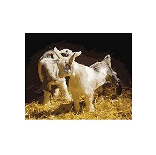 Familia De Cabras Preparada Para Dibujar Por Números Arte Fotos De Animales Para Sala De Estar Decoración Del Hogar Sin Marco 40X50CM