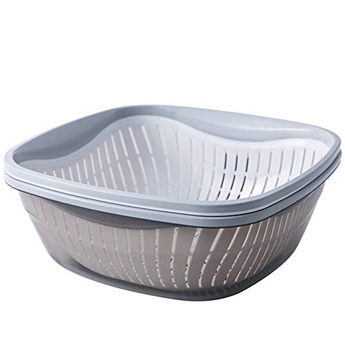 Double Layer Hollow wasmand Groenten Drain Basket Set Household Fruit Storage Basket Kitchen Wash Basin (Color : Grey, Size : M)