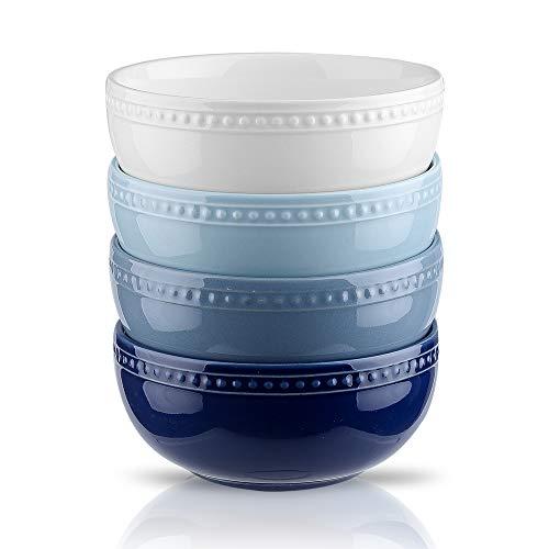 Joyroom Porcelain Cereal Bowl Set, 26 OZ Soup Bowls Microwave Safe, Bakeable Ceramic Bowl Set For Oatmeal Breakfast, Retro Dot Series Set of 4 (Blue Series)