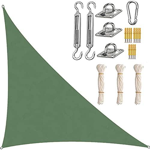 XYWML Toldo Vela De Sombra Triangular, Transpirable Protección Rayos UV Resistente para Patio Exteriores Jardín (4 x 4 x 5.7m,Verde Oscuro)