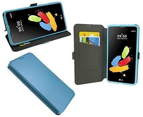 ENERGMiX Buchtasche kompatibel mit LG Stylus 2 (K520) Hülle Hülle Tasche Wallet BookStyle mit Standfunktion in Blau