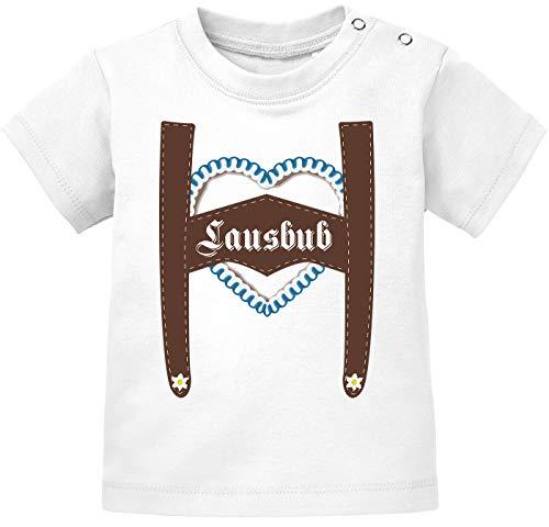 MoonWorks® Kurzarm Baby T-Shirt Lausbub Babyshirt Bio Baumwolle lustiger Spruch Jungen Shirt weiß 68/74 (4-9 Monate)