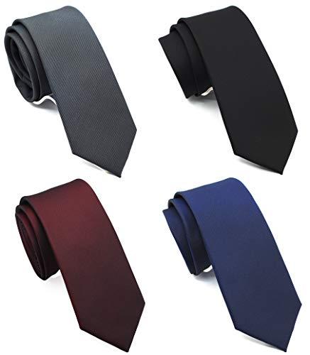 """2.5"""" Skinny Ties for Men, Solid Slim Ties 4-Pack, Basic Colors Ties Assorted, Black Tie, Navy Blue Tie, Burgundy Tie, Gray Tie"""
