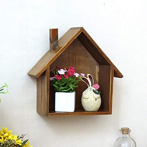 Amerikaanse stijl Retro kleurrijk huismodel Plank Opslag Houten kist Muur Hangwinkel Woondecoratie nieuw, A