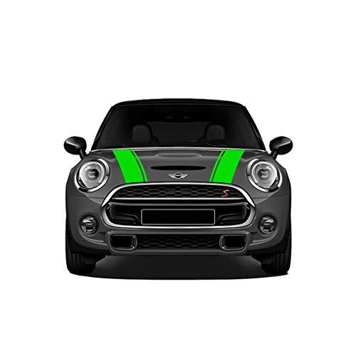 Preisvergleich Produktbild Doppelstreifen für Motorhaube,  Mini,  selbstklebend,  für Mini Cooper R56 R55 R50 R53 R60 F56 F55 F54 F60 Countryman Clubman / Folie gegen Blasen / matt oder glänzend (grün wasabi glänzend)