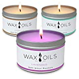 Wax and Oils Soy Wax Aromatherapy Scented Candles, Lavender, Vanilla & Peppermint Eucalyptus, 8 oz (Pack of 3)