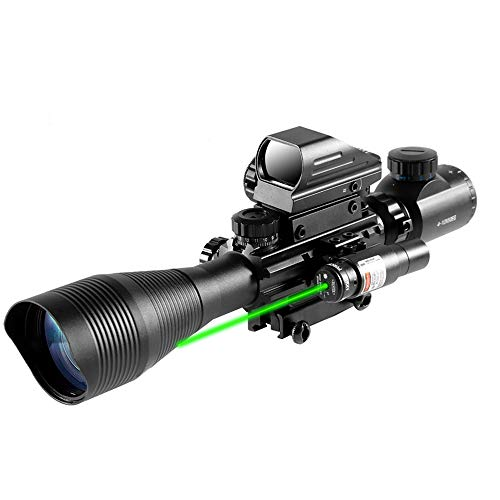 HIMIFOY 4-12X50 EG Combo Tactical Rifle Scope Dual Illuminated Optics & Rangefinder Illuminated Reflex Sight 4 Holographic Reticle Red/Green Dot Sight & IIIA/2MW Laser Sight(Green)