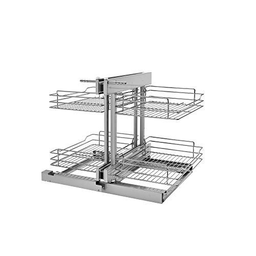 Rev-A-Shelf 5PSP-15-CR 15 Inch Chrome Blind Corner 4 Shelf Slide Out Kitchen Cabinet Organizer, Silver