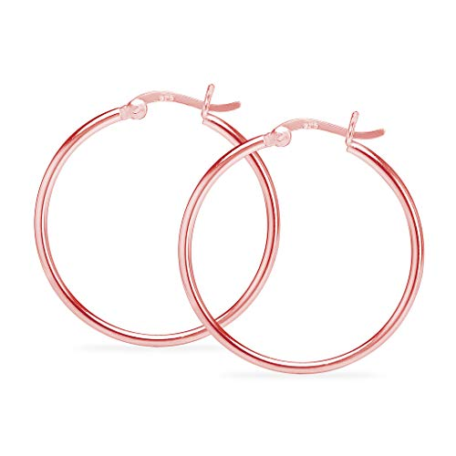925 Sterling Silver Rose Gold Flashed High Polished Round Thin Lightweight Unisex Click-Top Tube Hoop Earrings, 35MM