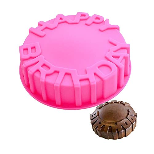 Happy Birthday Silicone Cake Pan, 7.9' Birthday Round Circle Baking Mold Cheese Cake Jelly Pudding Muffin Pizza Pie Flan Tart Bread Bakeware Pastry Baking Mold