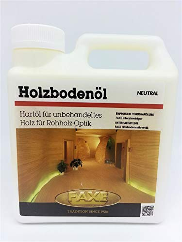 Faxe Holzbodenöl Neutral, Rohholz-Optik, Hartöl hell, Bianco Öl, Parkettöl hell, (Inhalt 1 Liter)