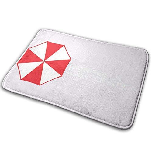 D-M-L 40X60cm Resident Evil Umbrella Corporation-Logo, weißschwarze Türmatte mit Trucker-Kappe, rutschfeste, schnell absorbierende Feuchtigkeit und widerstandsfähige Schmutzteppiche