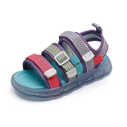 Sandalias para niños y niñas, sandalias con iluminación LED luminosa para verano, zapatos de jardín (tamaño: 26, color: azul)