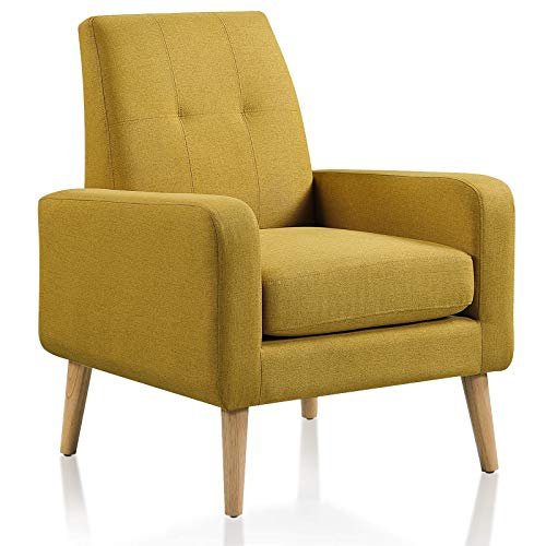 DAZONE Accent Chair, Modern Comfy Arm Chair Upholstered Armchair Tufted Button Linen Fabric Single Sofa Accent Chair with Arms for Living Room Bedroom Small Spaces Apartment Office Mustard Yellow