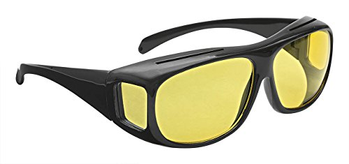 Wedo 27147599 Überzieh Nachtsichtbrille für Autofahrer, für Brillenträger, getönte polarisierende Gläser, gemäß ISO Norm, Hülle und Gebrauchsanleitung, schwarz/gelb